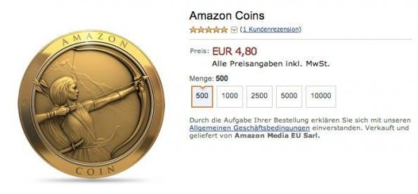 """Amazons eigene Währung """"Coins"""" kann nun auch in Deutschland gekauft und ausgegeben werden. (Screenshot: amazon.de)"""