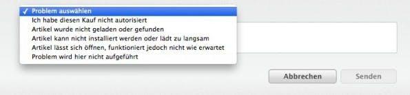 Nutzer können beim App-Umtausch aus mehreren Optionen wählen. (Screenshot: reportaproblem.apple.com)