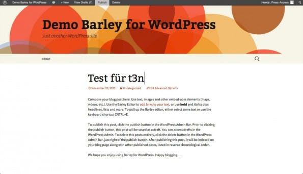 Barley: Mit dem Premium-Plugin für WordPress könnt ihr Texte direkt im Frontend editieren. (Screenshot: Barley for WordPress)