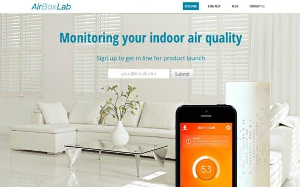 Einen sauberen Lufthaushalt verspricht das Startup AirboxLab. Eine Hardware-Box koppelt sich mit einer Smartphone-App, die Tipps gibt. (Screenshot: AirboxLab)