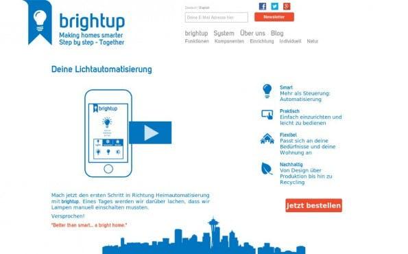 Mit den Geräten von BrightUp können Nutzer ihren Hauslichtbestand automatisieren und intelligent machen. (Screenshot: BrightUp)