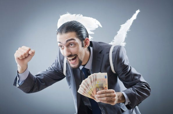 Business angel with money