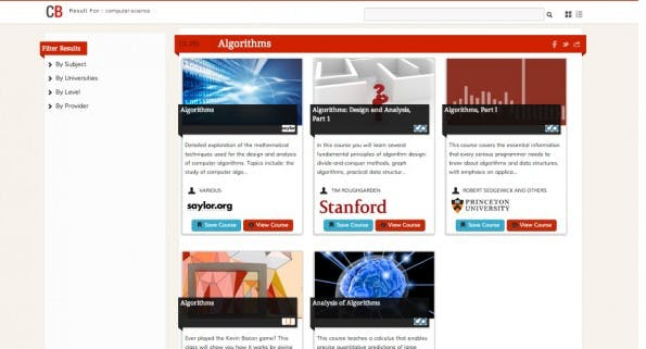 Coursebuffet.com listet die MOOC-Online-Angebote von dutzenden Universitäten und Zusammenschlüssen von Bildungseinrichtungen auf. (Screenshot: coursebuffet.com)