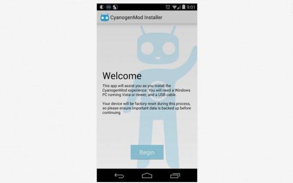 CyanogenMod Installer: Android-App führt Nutzer durch den Installationsprozess. (Screenshot: Play-Store)