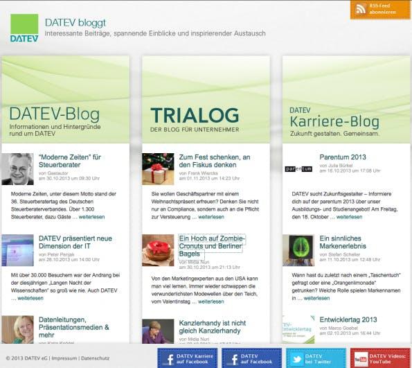 Datev-Blogs zu unterschiedlichen Themengebieten. (Bild: Datev)