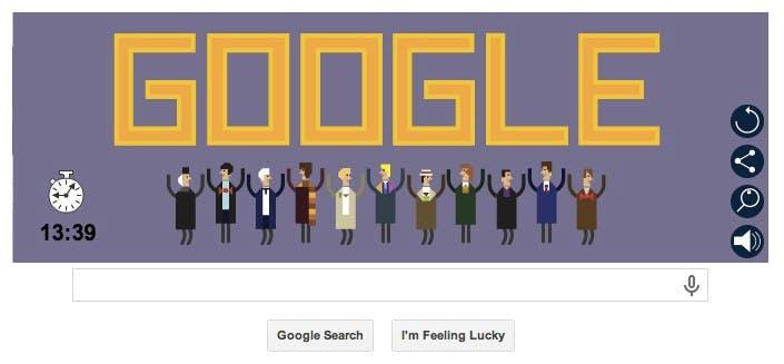 Google Doodle: Spieler können wählen, welchen der 11 Doktoren sie spielen wollen. (Bild: Google)