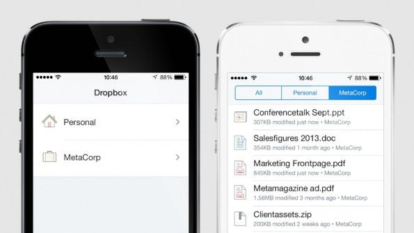 Screenshot von Dropbox für Unternehmen.