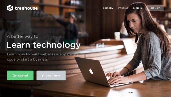 Screenshot: Treehouse Webseite