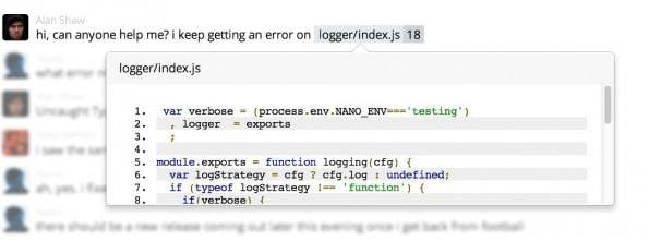 Gitter: So soll man auf GitHub-Projekte verweisen können. (Screenshot: Gitter)