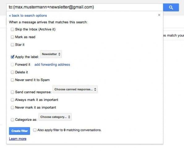 """Alle einkommenden E-Mails, die an """"max.mustermann+newsletter@gmail.com"""" gerichtet sind, erhalten das Label """"Newsletter"""". (Bild: mail.google.com)"""