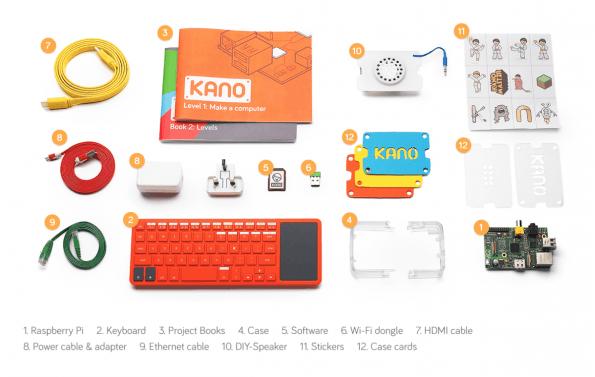 Neben einem Raspberry Pi bietet Kano zusätzliche Extras, mit denen sich die Platine in einen programmierbaren Computer verwandeln lässt. (Foto: Kano)