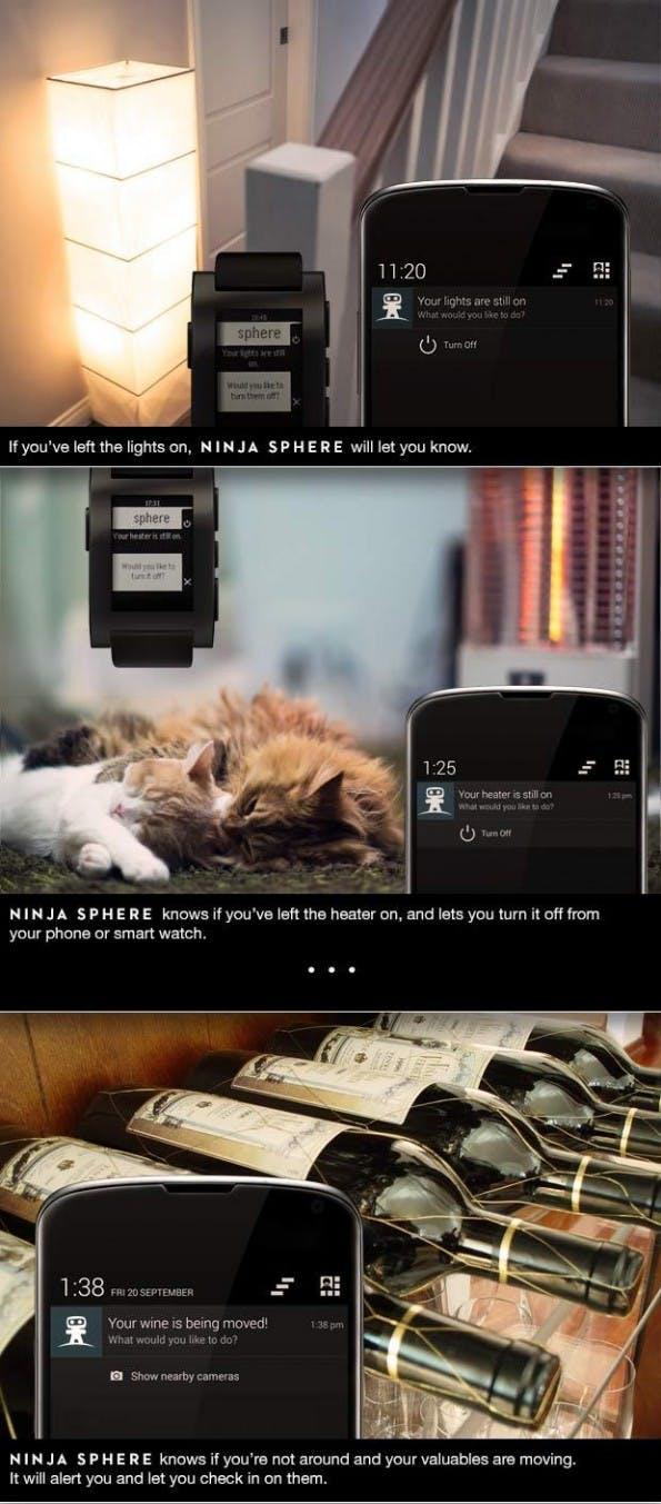Anwendungsbeispiele für die Ninja Sphere. (Quelle: kickstarter.com)