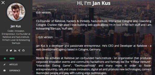 Online-Bewerbung leicht gemacht: Brandme.io verspricht eine schnelle Webseite um Arbeitgeber zu beeindrucken. (Screenshot: brandme.io)
