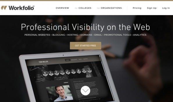 Workfolio bietet ein umfrangreiches Angebot für die Online-Bewerbung: Webseite, Analystics-Bereich und Promotion-Tools. (Screenshot: Workfolio.com)