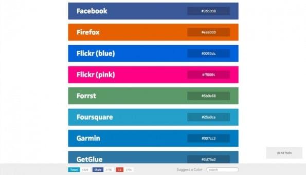 Photoshop: BrandColors.net ist die Vorlage für die ACO-Datei. (Screenshot: BrandColors)