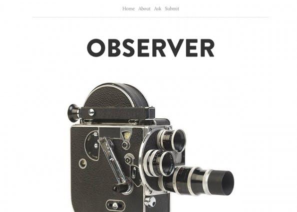Das Theme namens Observer ist wieder ein Vertreter von absolutem Minimalismus. Außer schwarzer Schrift auf weißem Grund und einigen Linien gibt es hier nicht viel zu sehen – im positiven Sinne. (Quelle: tumblr.com)