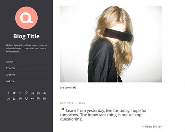 Das Oka-Theme setzt den Fokus vor allem auf die Seitenleiste und das Logo. (Quelle: tumblr.com)