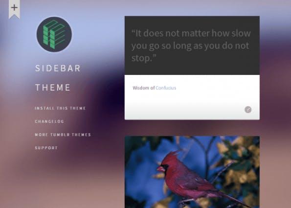 Das Sidebar-Theme erinnert vom Look her ein wenig an iOS 7 aufgrund des unscharfen Hintergrunds. (Quelle: tumblr.com)