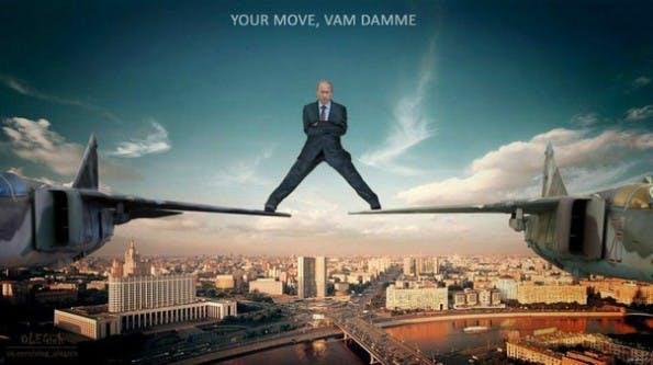"""Der Volvo-Spot """"The Epic Split"""": Was Jean-Claude van Damme kann, beherrscht Wladimir Putin schon lange. (Bild: Joyreactor)"""