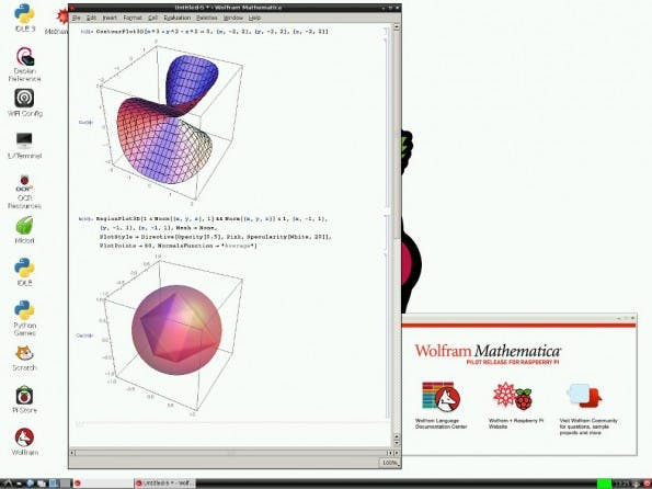 Wolfram: Mathematica auf einem Raspberry Pi. (Screenshot: Raspberry-Pi-Foundation)
