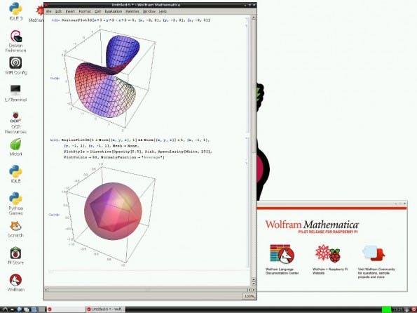 Wolfram: Mathematica auf einem Raspberry Pi. (Screenshot: Raspberry-Pi-Foundation)