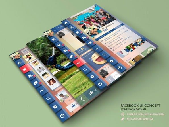 Das Facebook-App-Konzept von Neelan Sachan setzt auf eine Navigation aus Icons. (Quelle: neelank.dunked.com)