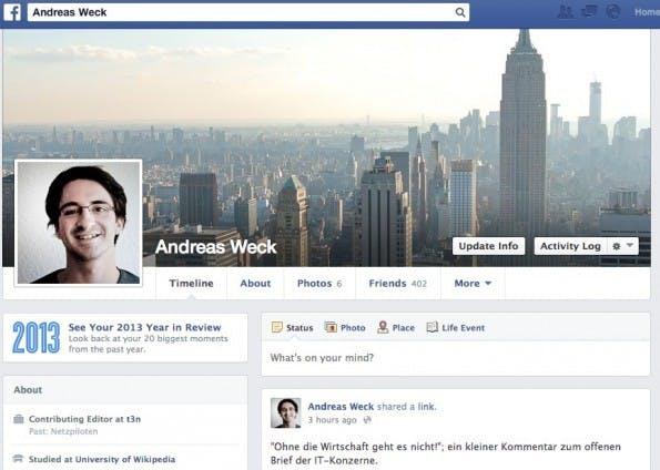 Facebook-Jahresrückblick: Auch in der Timeline verlinkt.