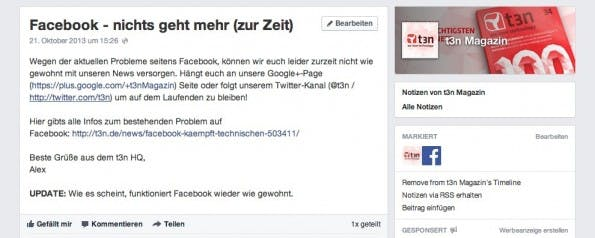 Facebook-Notizen