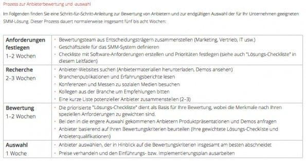 Auszug aus Handbuch zur Bewertung von Unternehmenssoftware für das Social-Media-Marketing. (Screenshot: Wildfire)