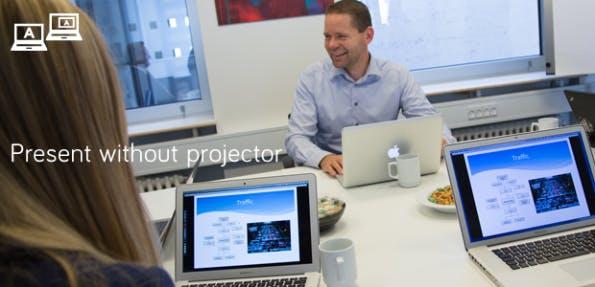 Airtame streamt auch den Bildschirminhalt zwischen mehreren Clients, und kann deswegen gut für Präsentationen oder im Klassenzimmer verwendet werden. (Quelle: Indiegogo.com)