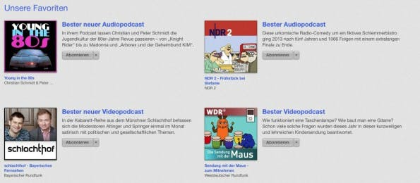 Die Apple Best of 2013 küren auch die besten Podcasts des Jahres. (Bild: iTunes)