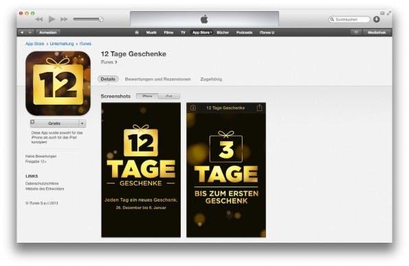 12 Tage Geschenke: Apple verschenkt wieder Apps und Medien. (Screenshot: Apple iTunes)