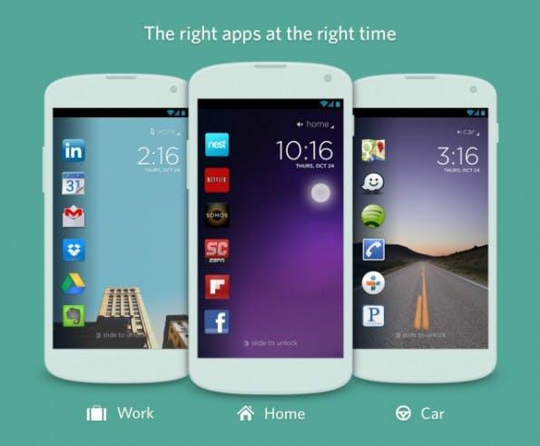 Cover für Android-Smartphones: Dank einer lernenden Oberfläche bekommen Nutzer ihre Apps immer dort, wo sie sie gerade brauchen. (Screenshot: Cover)