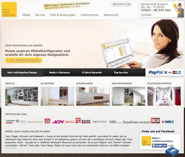Der Onlineshop des Startups Meine Möbelmanufaktur (meine-moebelmanufaktur.de)