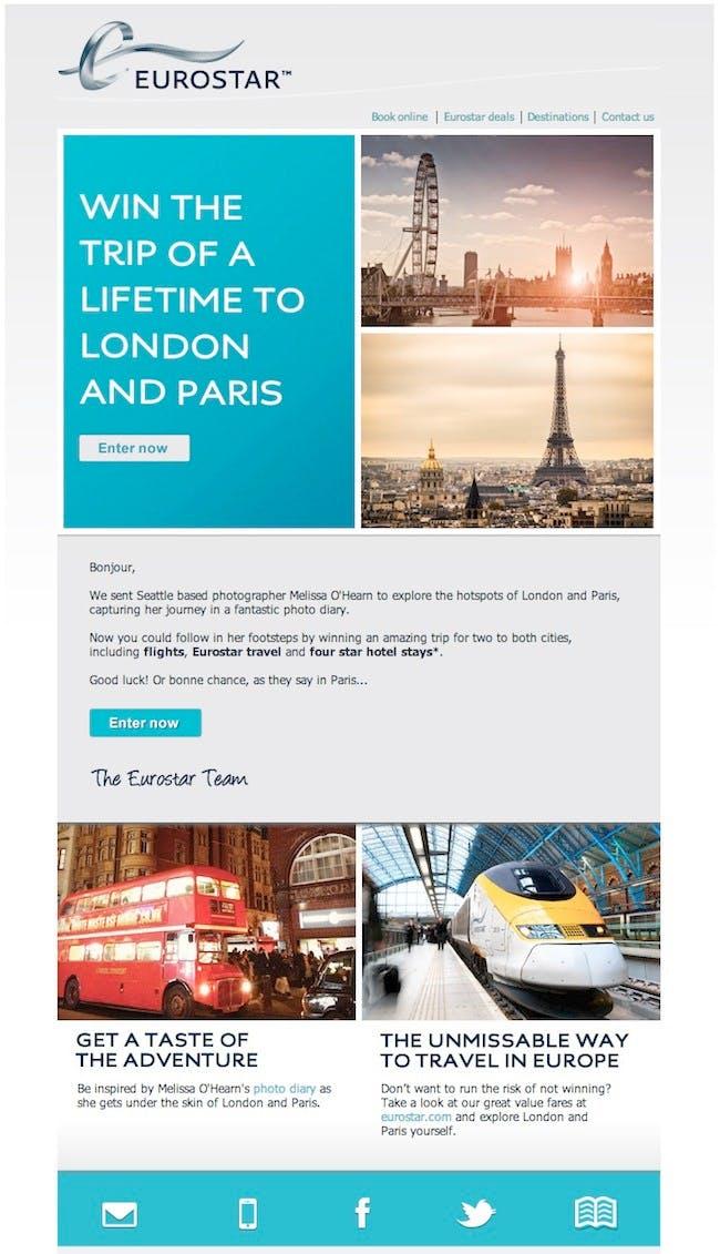 Ein tolles Beispiel für E-Mail-Marketing von Eurostar. (Quelle: HubSpot)
