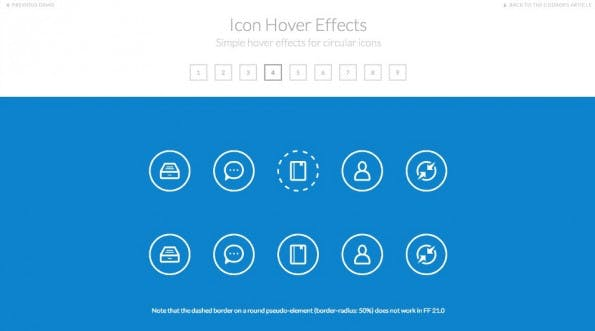 Diese Frontend-Demo zeigt verschiedene Hover-Effekte für kreisrunde Icons. (Screenshot: Codrops)