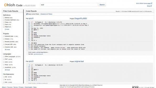 Ohloh Code: Die Suchmaschine für Open-Source-Code. (Screenshot: Ohloh Code)