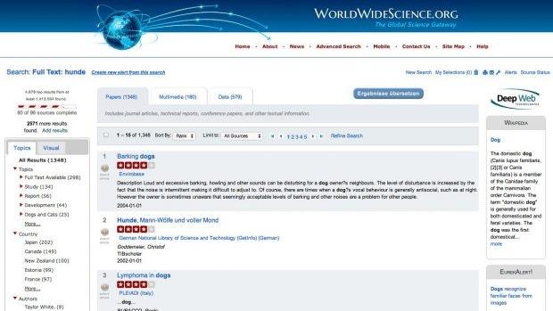 WorldWideScience: Die weltweite Suchmaschine für wissenschaftliche Texte. (Screenshot: WorldWideScience)