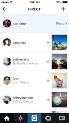 Die Konversationen von Instagram Direct werden in einer separaten Übersicht angezeigt. (Quelle: Instagram)