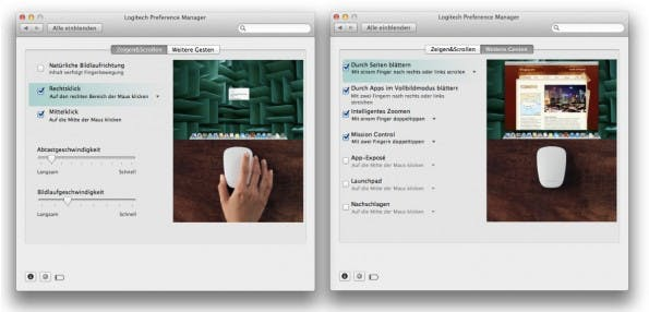 Die Treiber-Software für Mac OS X: Leider mit eingeschränkter Individualisierbarkeit. (Screenshot: Moritz Stückler)