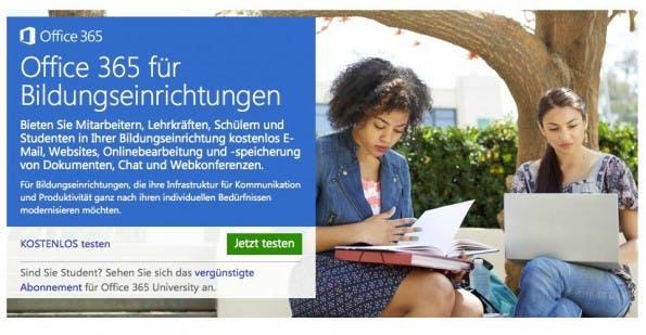 Microsoft Office 365 ist für Schüler und Studenten kostenlos, sofern ihre Schule oder Universität über die entsprechende Lizenz verfügt. (Bild: Microsoft).