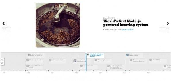 Node.js: Timeline präsentiert die wichtigsten Ereignisse rund um die Plattform. (Screenshot: gergelyke.github.io/node2013/)