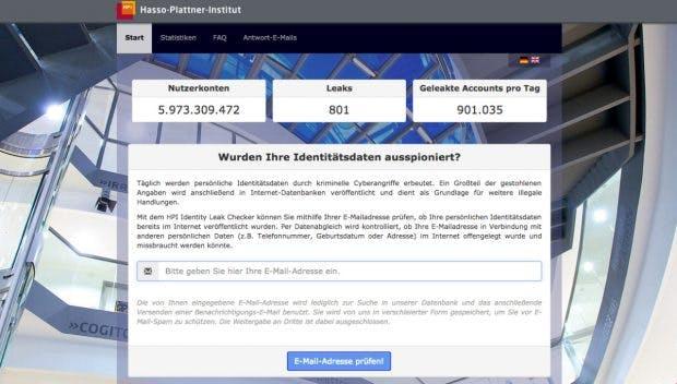Deutschsprachiger Dienst: Der Identity Leak Checker wird vom Hasso-Plattner-Institut betrieben. (Screenshot: sec.hpi.uni-potsdam.de)