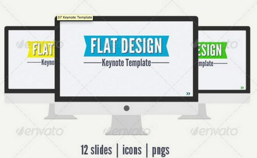 """<a href=""""http://xdesigns.net/2013/08/keynote-templates/#"""">xdesigns hat rund 50 Vorlagen für Keynote zusammengetragen.</a> (Bild: envato)"""