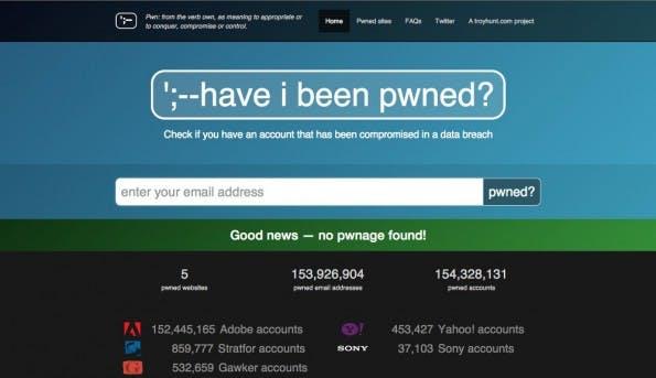 Diese Seite zeigt euch, ob euer Account beispielsweise vom Adobe-Hack betroffen ist. (Screenshot: ';--have i been pwned?)