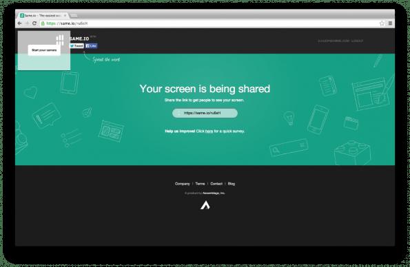 Same.io: Ganz ohne Software, Plugin oder Installation können Desktop-Inhalte geteilt werden. (Screenshot: Same.io)