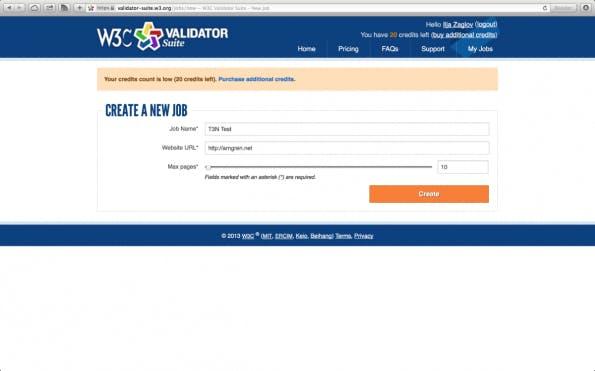 W3C Validator Job anlegen