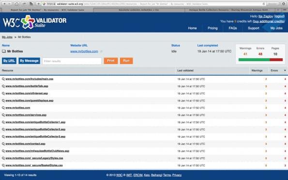 W3C Validator Suite: Detailansicht