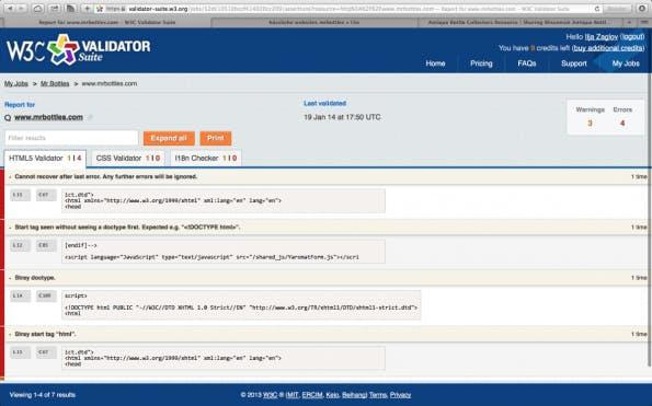 W3C Validator Suite HTML-Analyse