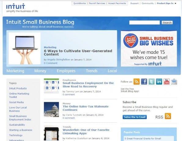 Der Blog von Intuit (Screenshot blog.intuit.com)